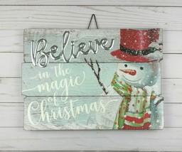Wall Plaque Yard Sign Christmas Snowman Believe - £11.66 GBP