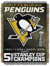 Pittsburgh Penguins 48 x 60 Stanley Cup 5 Time Jacquard Tapestry Throw B... - $44.55