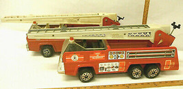 Pair Vintage Tonka USA Steel Fire Rescue Aerial Ladder Trucks Blazedale!  Toy - $93.49