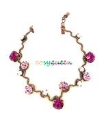 Gorgeous retro new copper Fuchsia Swarovski crystal wavy bracelet - $22.00