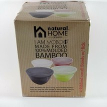 Natural Home Molded Bamboo Bowls Set of 4 Small with Lids Multicolor - £12.68 GBP