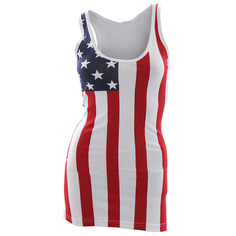 USA American Flag Tank Top Patriotic Women's Stars And Stripes S-XL