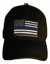 2PK Black USA Police Thin Blue Line Cap Low Profile Hat Baseball Support Law - $21.77