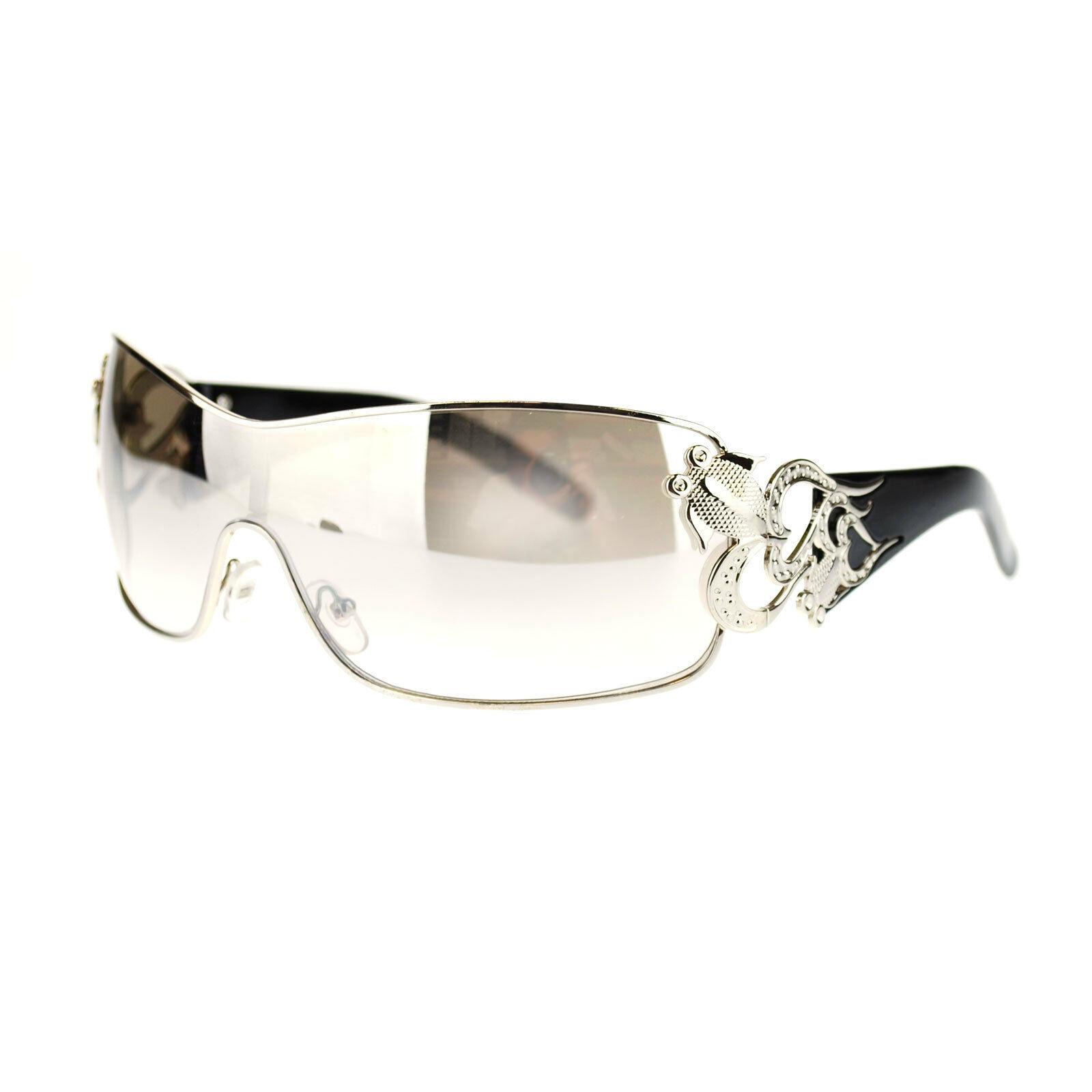 Womens Shield Sunglasses Oversized Rectangular Heart Design