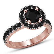 Rose Gold Plated 925 Pure Silver Black Simulated Diamond Women's Engagem... - $63.83