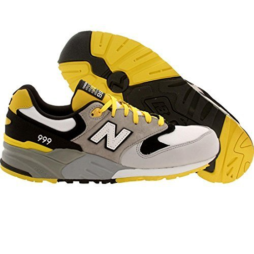New Balance Men's ML999 Mecha Collection Classic Running Shoe, Grey/Yellow, 10.5