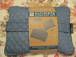 LEWIS N CLARK BE WELL 4 PIECE ULTIMATE COMFORT TRAVEL PILLOW SET W/ BLAN... - $18.76
