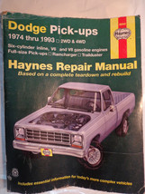 Haynes DODGE PICK-ups 1974 thru 1993 Automotive Repair MANUAL Soft Cover 30040 - $14.70
