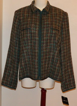 NWT Sag Harbor Blazer Jacket Size 16 Lined Career Full-Zip Green/Brown P... - $19.75