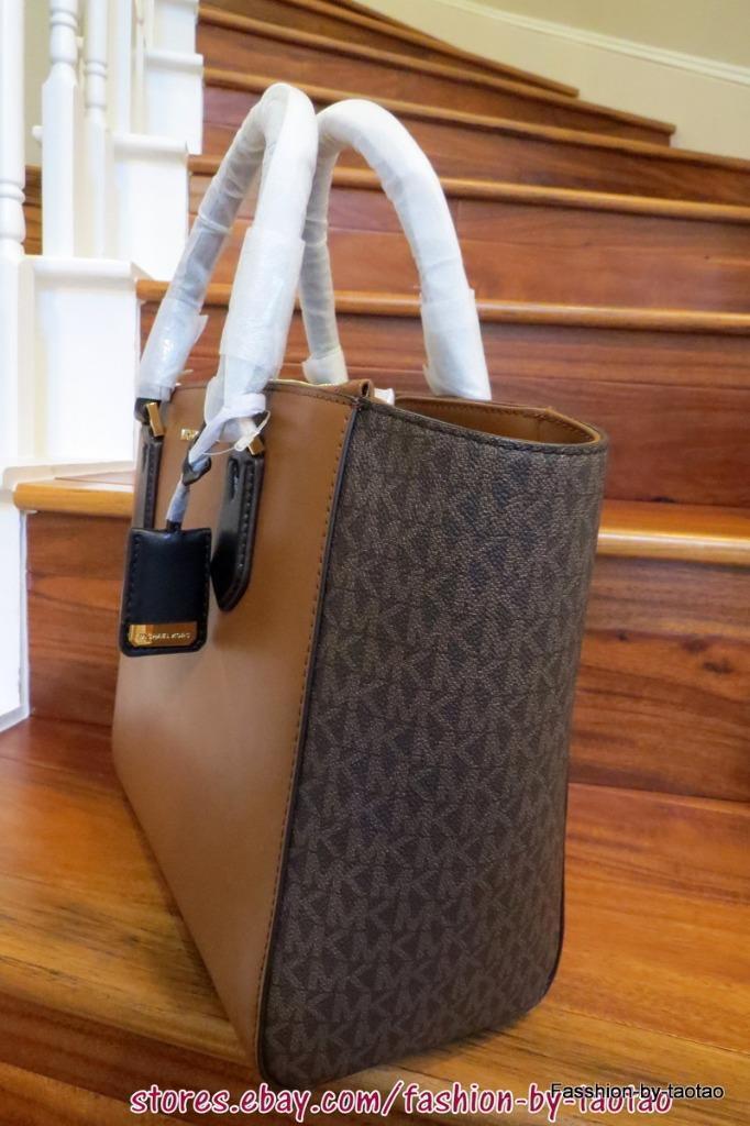 0834ff2d3dd3 NWT Michael Kors CAROLYN Leather/Signature PVC Large Tote Shoulder Bag