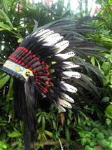 Baby DOUBE FEATHERS Native American Headdress, Toddler Chief Indian Warb... - $59.00