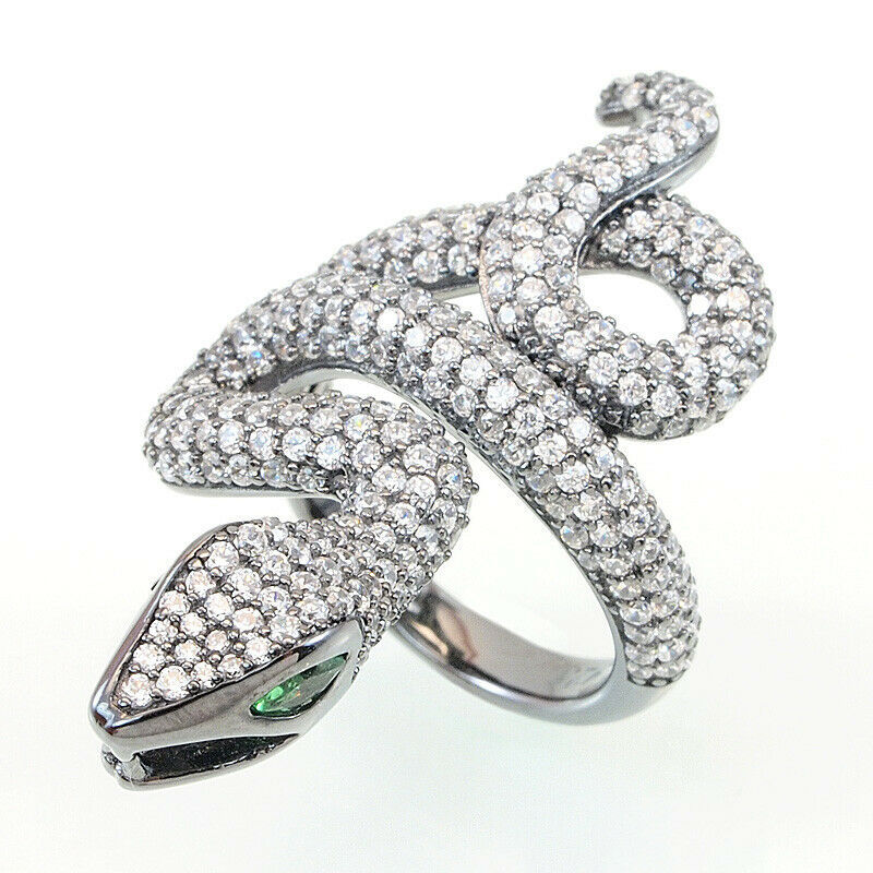 Primary image for ZirconZ ArtDeco Domed Pave Signity CZ Sterling Silver Panther Snake Knuckle Ring