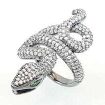 ZirconZ ArtDeco Domed Pave Signity CZ Sterling Silver Panther Snake Knuckle Ring - $129.99