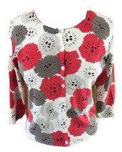 Talbots Petites Woman Small Brown Red Beige Floral Button Front Cardigan... - $26.83