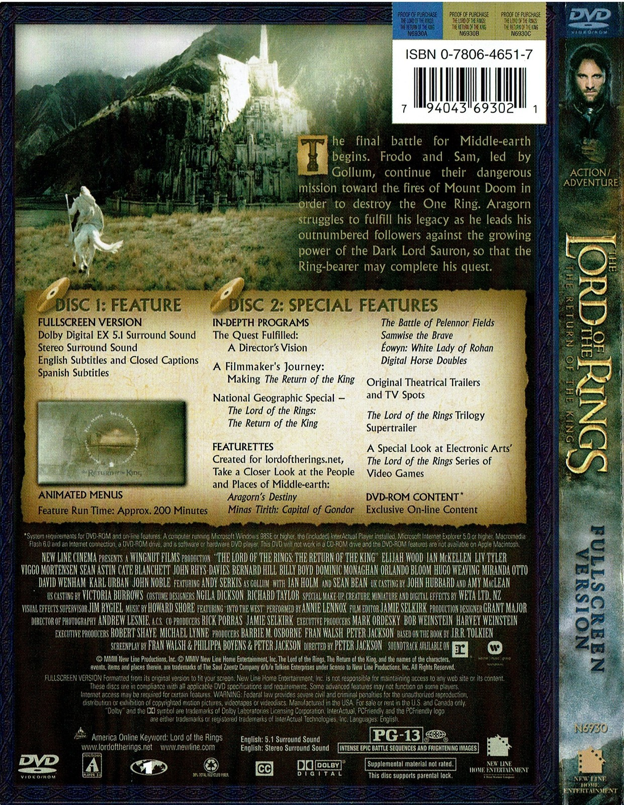 The Lord of the Rings: The Return of the King, DVD, 2004, Full Screen