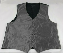 男装s Pronto Uomo Black Silver Vest Medium Six Button Front - $9.99
