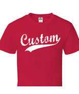 Custom Script & Tail Baseball Style T Shirt Personalized All Size & Colo... - $15.35+