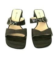 Anne Klein Brown Crocodile Leather Slip On Strap Open Toe Sandals Size 7.5 - $22.90