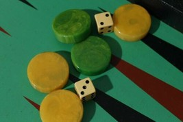 Yellow Green Swirl Bakelite Backgammon Set Leather Brief Case Game - $155.93