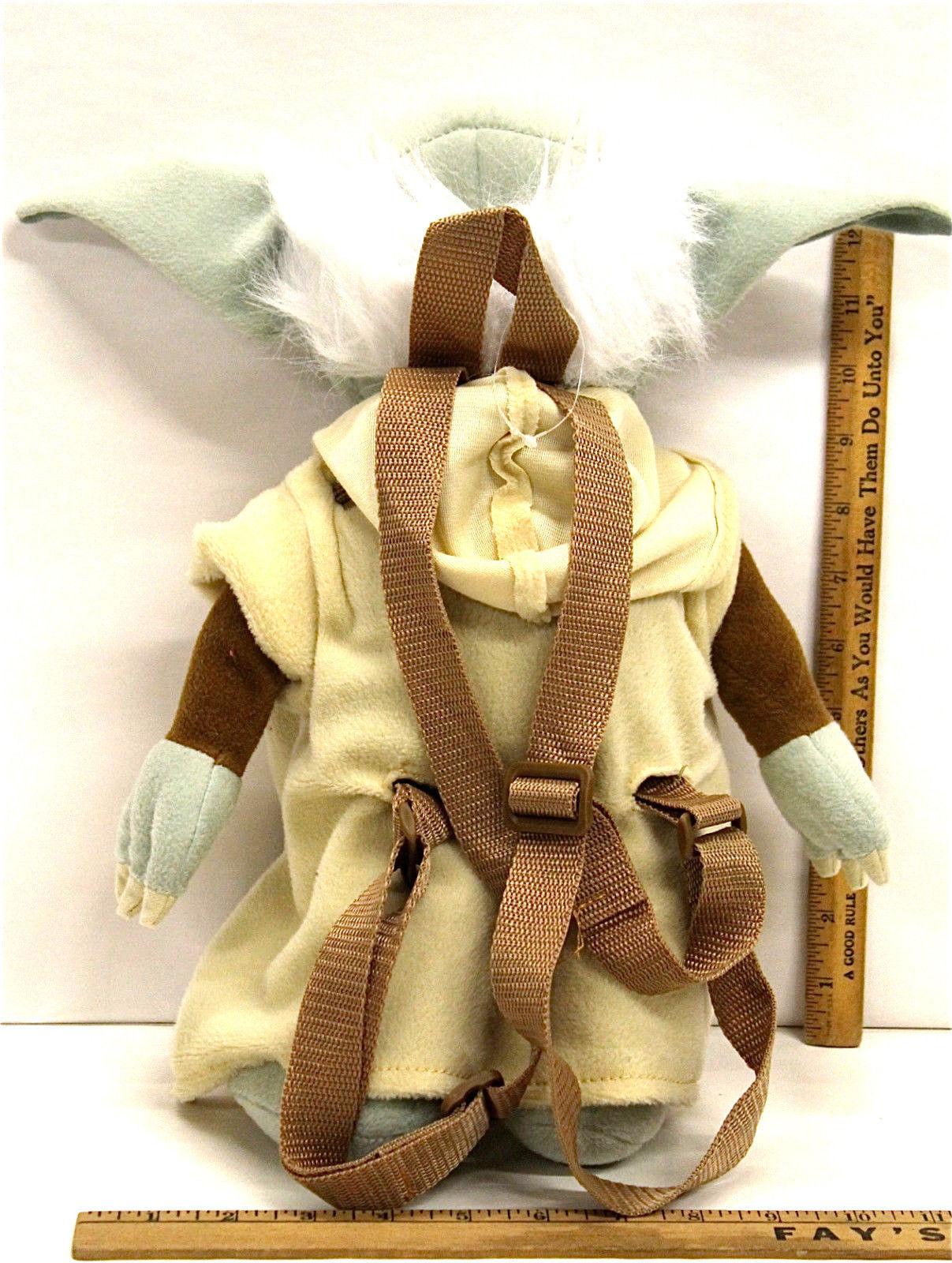 Star Wars Yoda Childrens Plush Stuffed Animal Backpack w/ Zipper Pouch Back Bag