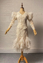 Vintage Style White Lace Dress Outfit Sleeve Mermaid Lace Bridal Wedding Outfit image 6