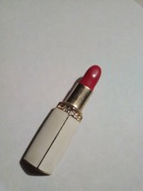 VINTAGE GOLDEN PIN BROOCH ENAMELLED RED LIPSTICK IN WHITE ENAMELLED CASE - $22.00