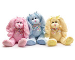 Set of 3 Plush Festive Pastel Colored Bunnies, burton & Burton