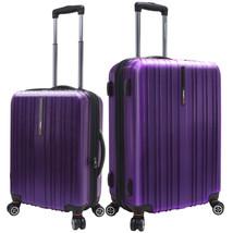 "Traveler's Choice 2pc 21""/25"" Purple Tasmania Polycarbonate Spinner Suit... - $168.29"