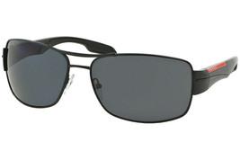 Prada Men's Sunglasses PS53NS 1BO5Z1 Shiny Black/Polarized Grey Lens Rec... - $193.03