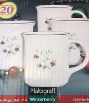 Pfaltzgraff Winterberry Coffee Mugs Christmas 12 oz Coffee Cups Holly Se... - $19.79