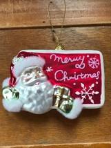 Estate Glass Santa Claus w Furry Hat & Mitten Trim Merry Christmas G... - $10.39