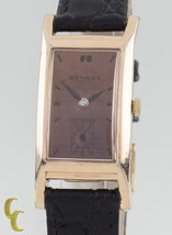 10k Rose Gold Filled Benrus Rectangle Hand-Winding Watch w/ Leather Band - $346.50