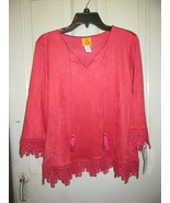 NWT ($62) Ruby Rd Folklorica Pullover Blouse-Paprika-Size PM-Soft!! - $22.95