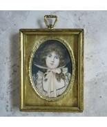 Antique Gold metal Frame Celluloid Miniature Portrait lithograph hand co... - $296.99