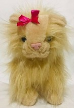 "Persian Cat 9"" Plush Tan Brown Pink Bow - $17.49"