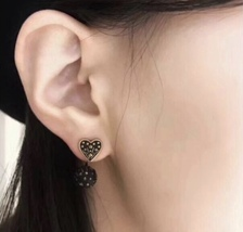 AUTHENTIC CHRISTIAN DIOR Metal Star Heart Earrings Black Gold image 6