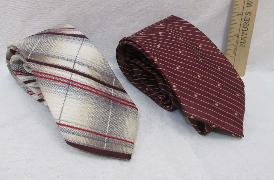 Primary image for Mens Neck Tie By Ambassador & Sears Classic Collection Burgundy White Lot Of 2