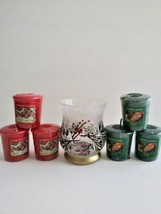 Yankee Candle Holder with 6 Votive Candles Hand Painted Crackled Glass - $12.82