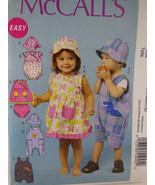 McCall's MP213 Child's Unisex pattern Romper Dress & Hat size NB S M L ... - $5.93