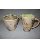 Epoch Stone wash Sugar & Creamer With Lid E909 Parchment Discontinue 199... - $14.95