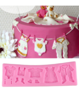 3D Baby Clothes Silicone Molds Christmas Cake Border Fondant Molds DIY f... - $9.99