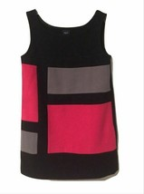 GAP KIDS Junior Girls Black & Pink Geometric Blocks Fashion Tank Dress S... - $19.99