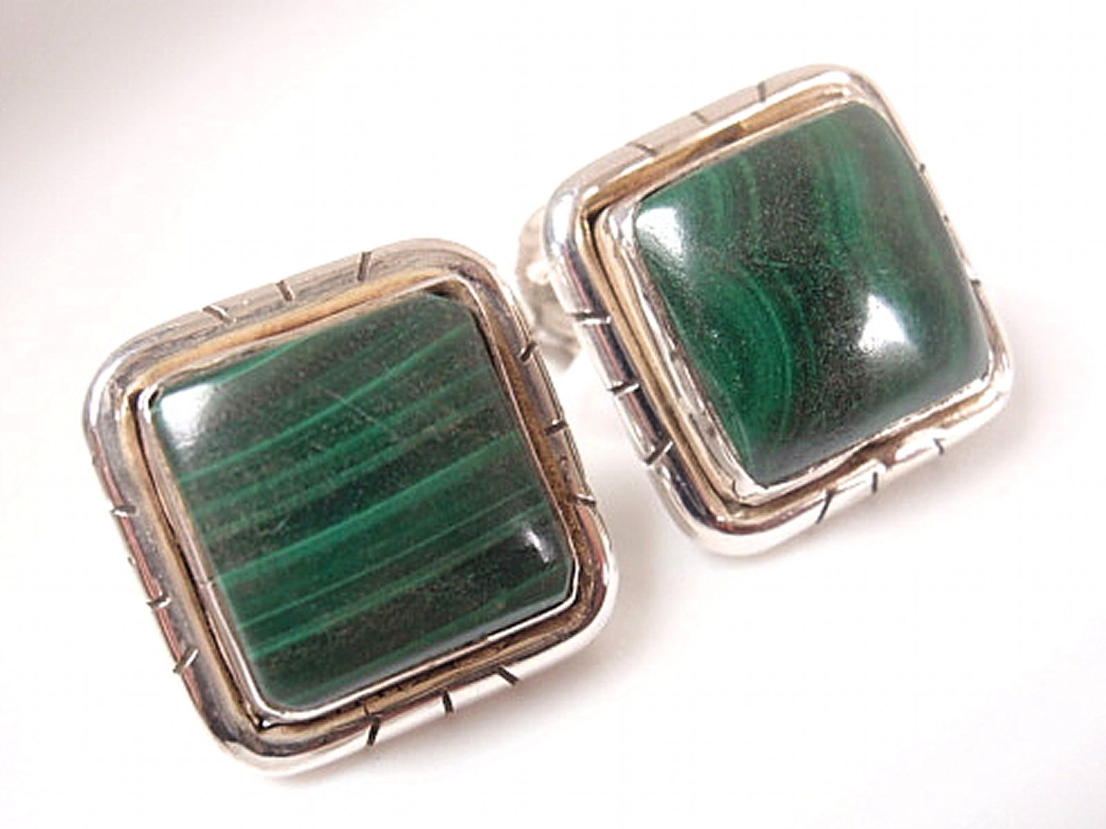 Green Malachite Square Stud Earrings Groove Accented 925 Sterling Silver a201b