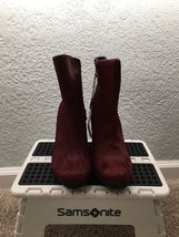 NEW Calvin Klein Jeans Genuine Cow Fur Ankle Boots Booties 7.5 Burgundy Wine - $100.00