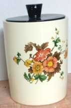 Flowered Ceramic Cookie Jar, What Not Jar, Hand Crafted Glazed Inside & ... - $22.00