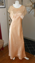 1930s Nightgown Lingerie Handmade Peach with Lace Vintage Aquilla Satin ... - $109.25