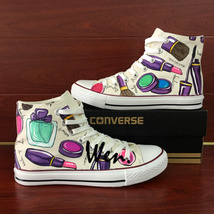 Womens Cosmetics Hand Painted Shoes Design Converse All Stat Canvas Snea... - $155.00