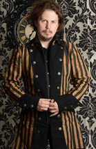 NWT Men's Steampunk Black Brown Stripe Coat Victorian Goth Vampire Pirat... - $88.09