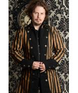 NWT Men's Steampunk Black Brown Stripe Coat Victorian Goth Vampire Pirat... - $88.09