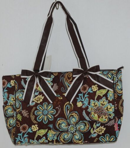N Gil Product Number PRY2424 Large Diaper Bag Brown Teal Green Paisley Pattern